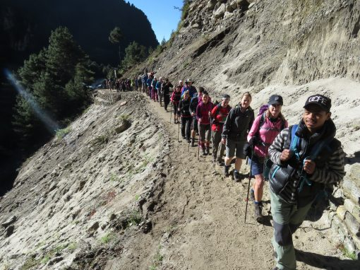 Everest base camp group trekking up the valley