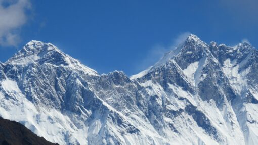 Everest on the left and Lhotse on the right