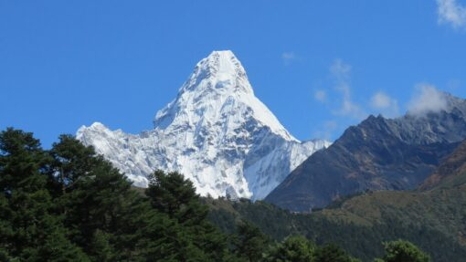 Ama dablam towering above the trail