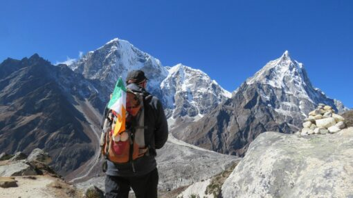 Everest base camp and the Irish flag