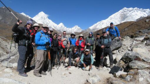 Everest base camp team at high altitude