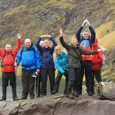 Pat Falvey team hiking up Carrauntoohil