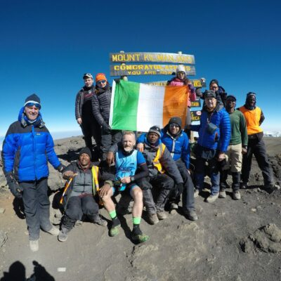 Team at summit of Kilimanjaro