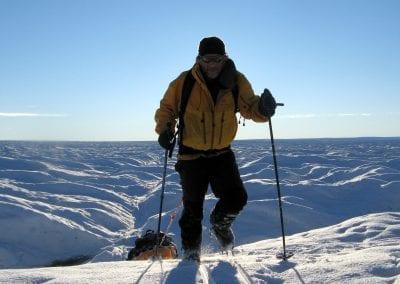 Pat Falvey hauling sled - Greenland August 07