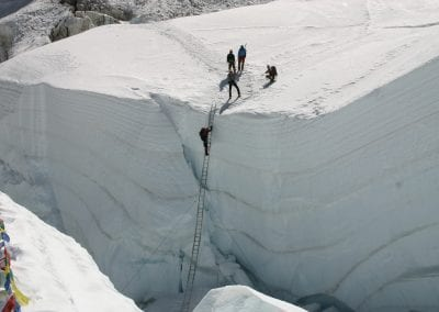 Ladders on the icefall