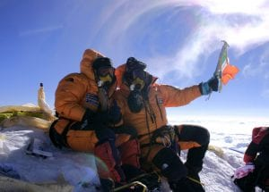 Pat Falvey and Clare O'Leary on the Summit of Everest Summit 2004